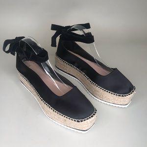 Zara Woman Black Satin Lace Up Espadrille Shoes 10